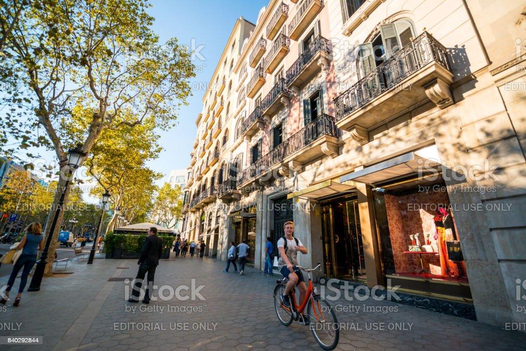 Passeig de Gracia, shopping street in Barcelona, Spain stock photo