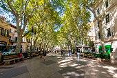 Palma de Mallorca, Spain - September 2018: Passeig del Born street in center of Palma