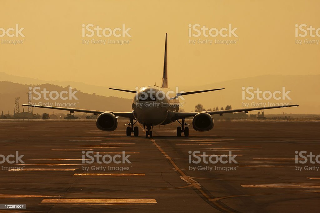 Passenger Aircraft at Dusk royalty-free stock photo