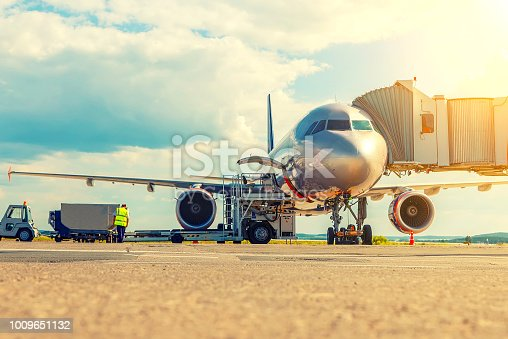 passenger aircraft is being preparing for a flight