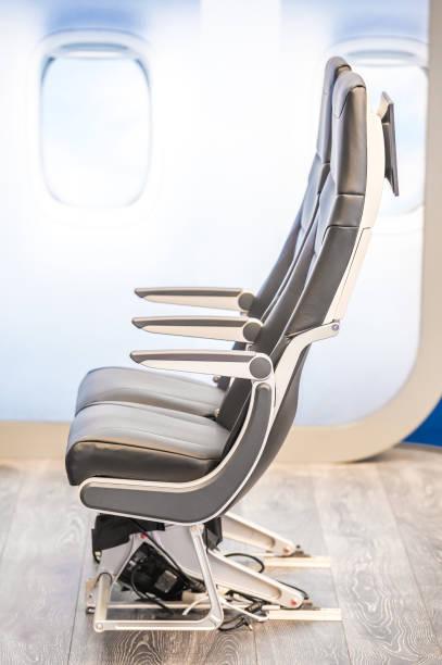 passenger aircraft seats stock photo