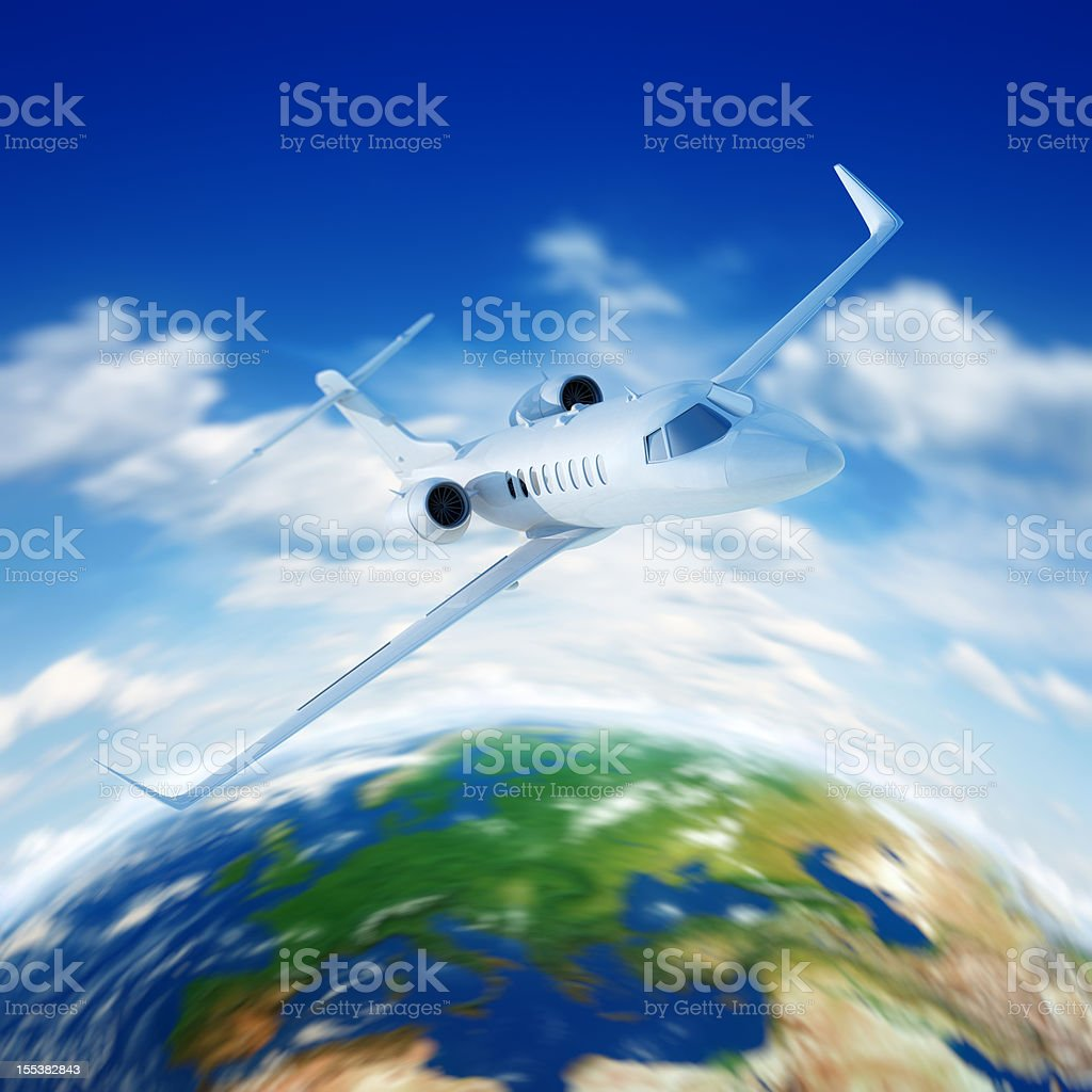 Passenger Airplane flying in clouds stock photo