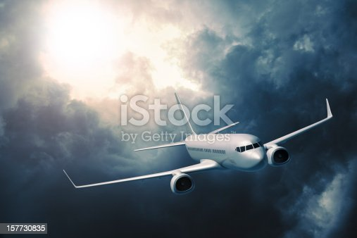 istock Passenger airplane flying in storm 157730835