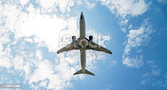 A commercial airplane in clear blue sky about to land