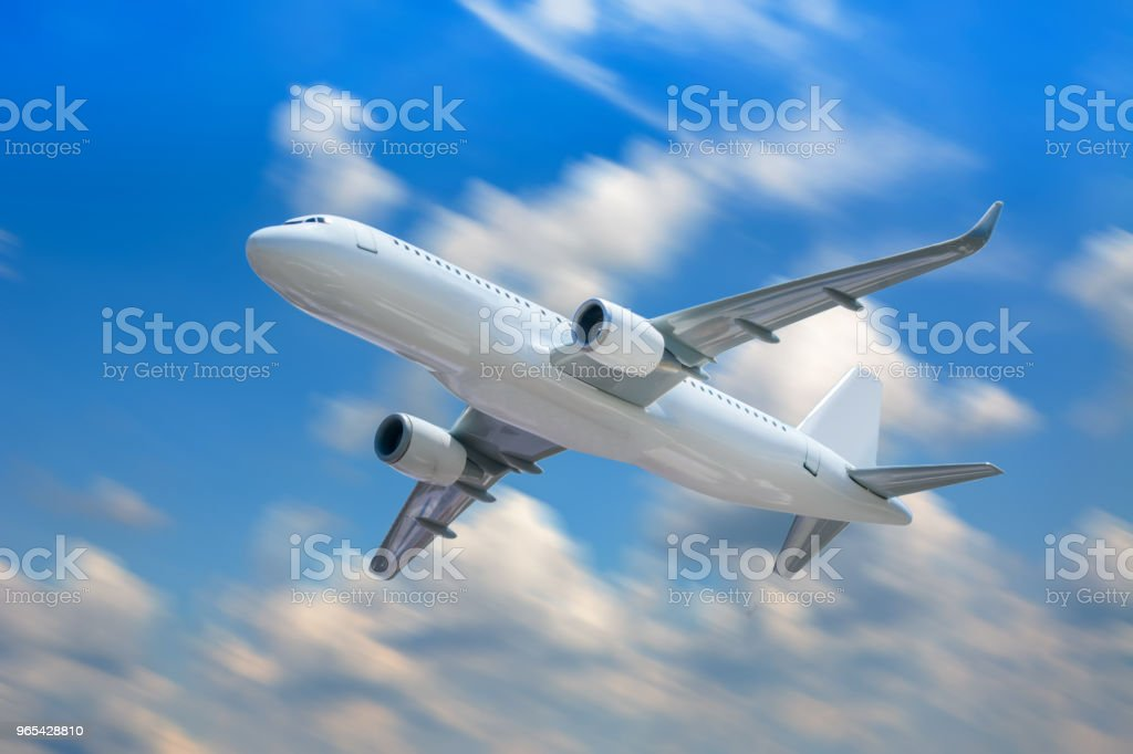 Passenger airplane in the clouds. royalty-free stock photo