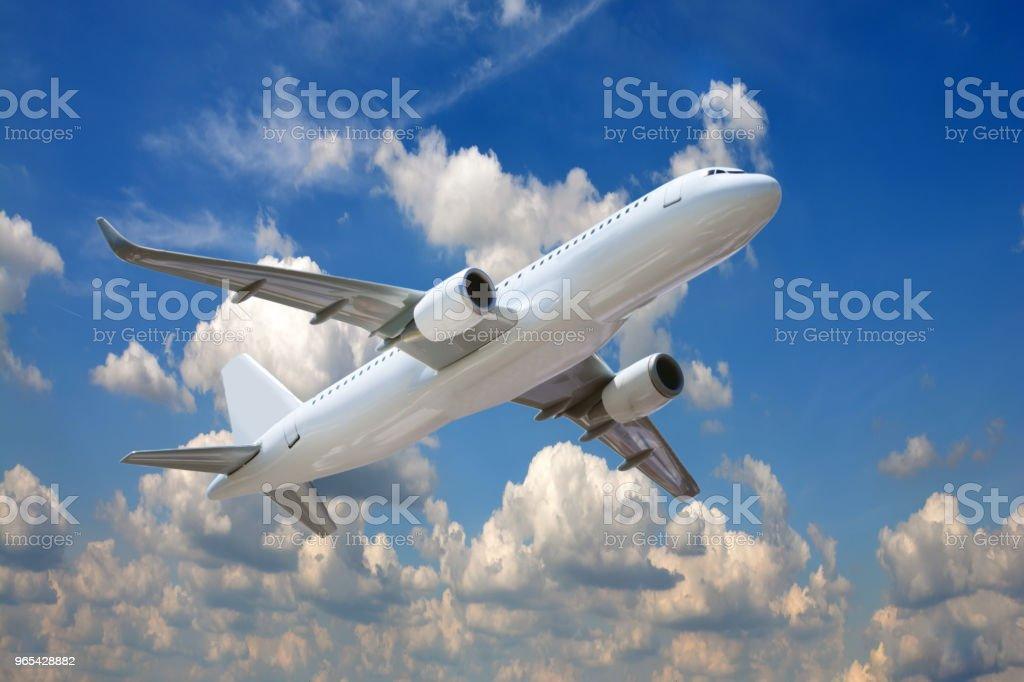 Passagierflugzeug in den Wolken. - Lizenzfrei Blau Stock-Foto