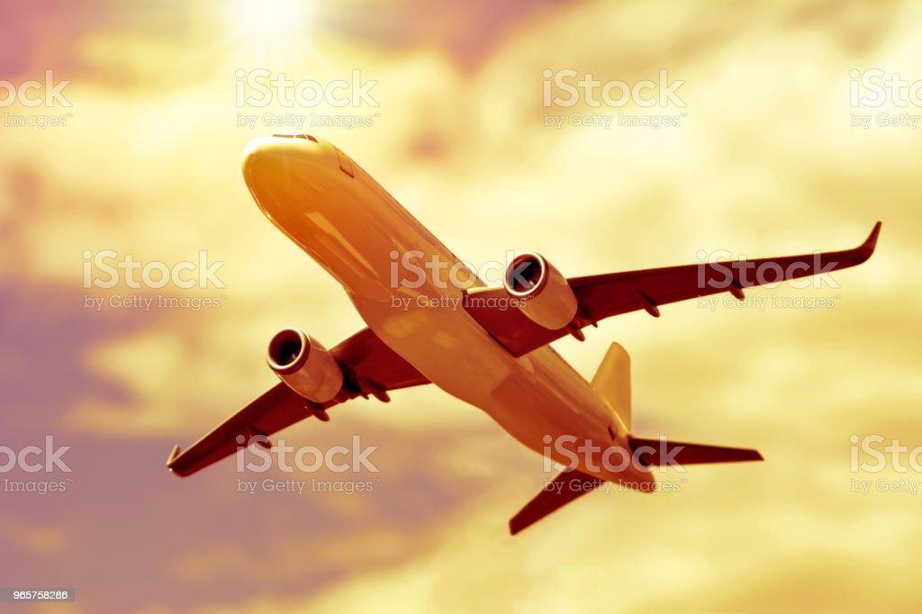 Passagier vliegtuig in de wolken. - Royalty-free Bedrijfsleven Stockfoto