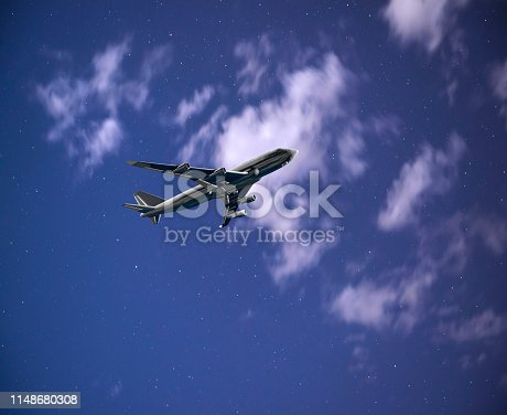 816320512 istock photo Passenger airplane is flying at night 1148680308