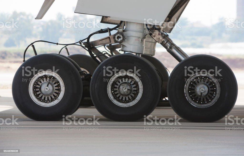 Passenger Airplane Landing Gear stock photo