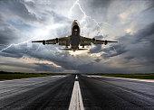 Passenger airplane landing on extreme weather