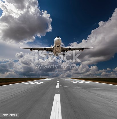 494996104 istock photo Passenger airplane landing 532958800