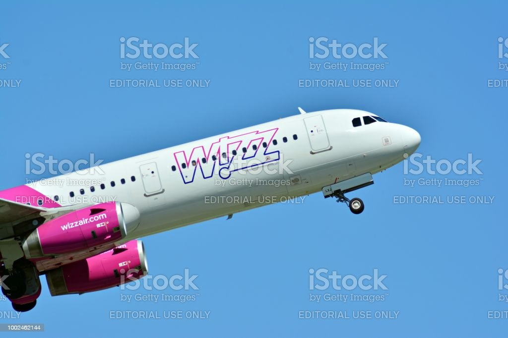 Passenger airplane HA-LYS Wizz Air Airbus A320-232  is flying from the runway of Warsaw Chopin Airport stock photo