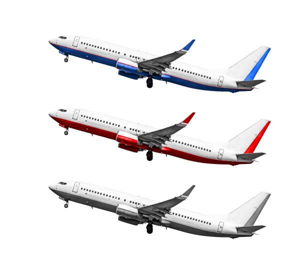 passagierflugzeug auf einem weißen hintergrund - flugzeugperspektive stock-fotos und bilder