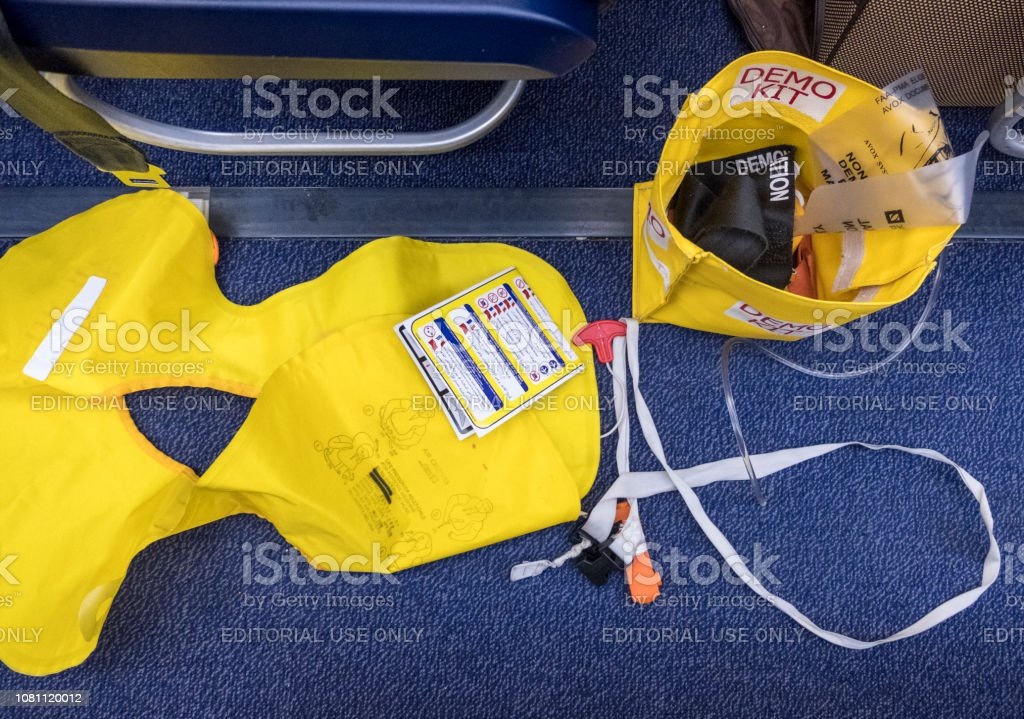 Passenger airplane RYANAIR airline. Contents Demo kit for pre-flight briefing on passenger safety stock photo