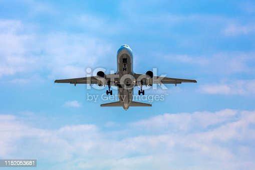 864534880 istock photo Passenger airplane taking off 1152053681