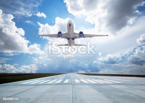 494996104istockphoto Passenger airplane taking off 494996104
