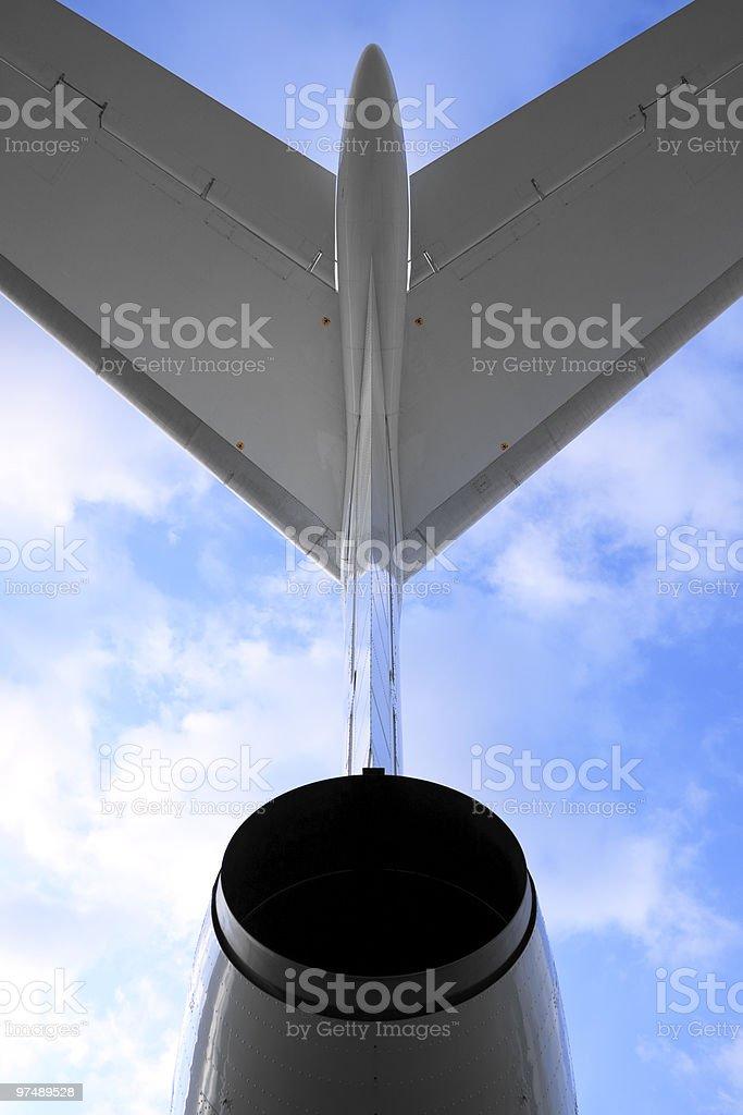 Passenger airplane, view behind royalty-free stock photo