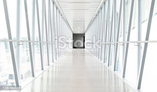 Passenger boarding bridge in airport.