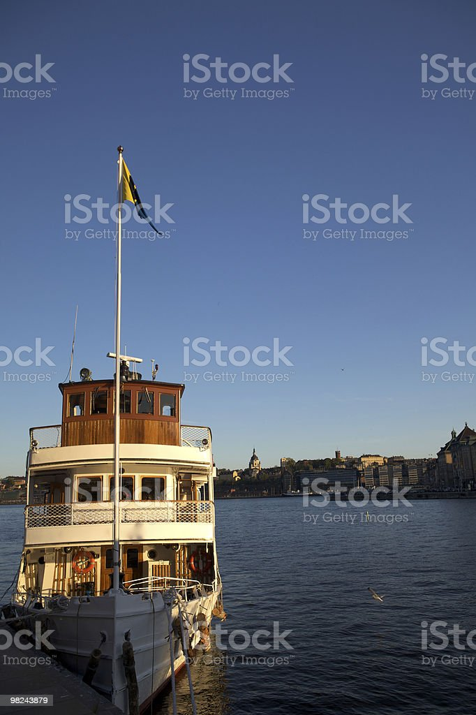 Passenger Boat in Stockholm Harbor royalty-free stock photo