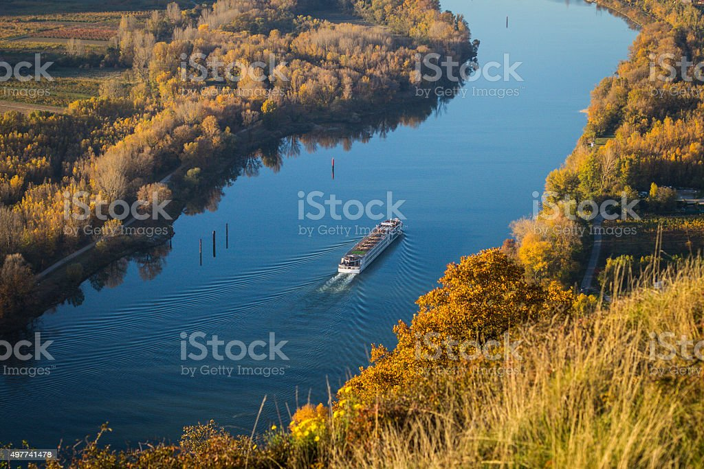 Passenger boat on the river Rhone stock photo