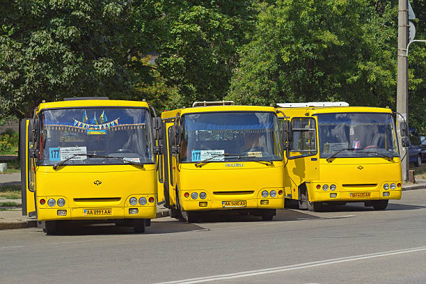 Passenger buses on the station stock photo