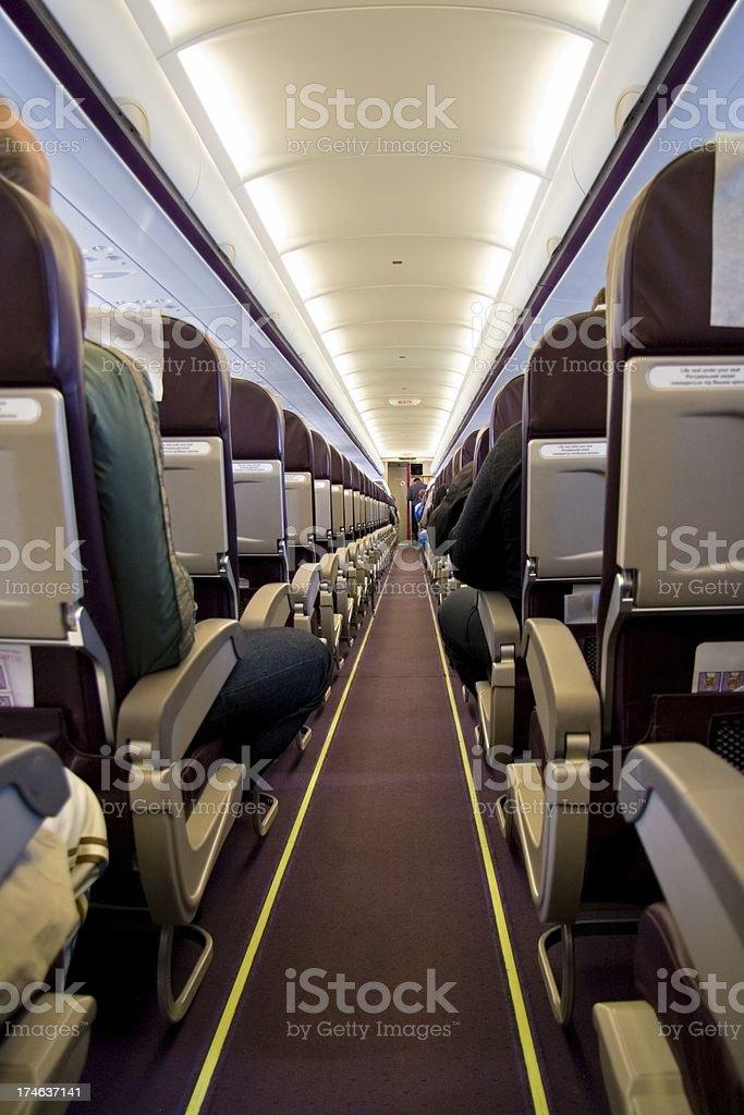 Passenger cabin of aircraft royalty-free stock photo