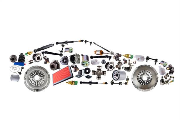 승용차가 애프터 마켓에 대 한 새로운 예비 자동차 부품에서 조립 - 예비 부품 뉴스 사진 이미지