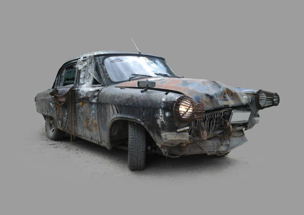 Passenger car of the apocalypse stock photo