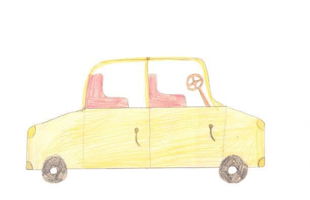 Automóvel de passageiros no fundo branco. Crianças Desenho em cores. - foto de acervo