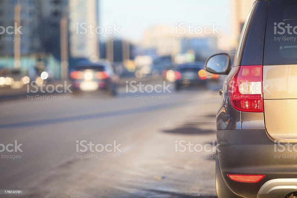 Passenger car, parking at the curb urban roads stock photo