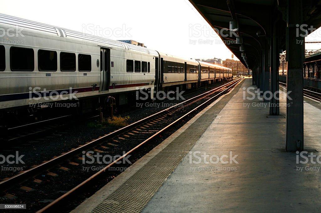 Passenger cars at train station. stock photo