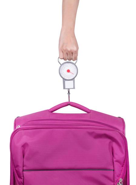 Passagier Check-Gepäck Gewicht mit Skala vor Flug isoliert auf weiss – Foto
