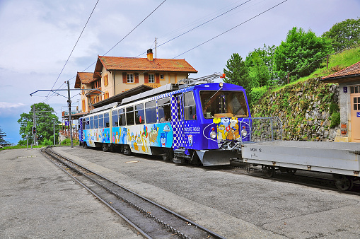 Passenger cogwheel train from Montreux to Haut-de-Caux.