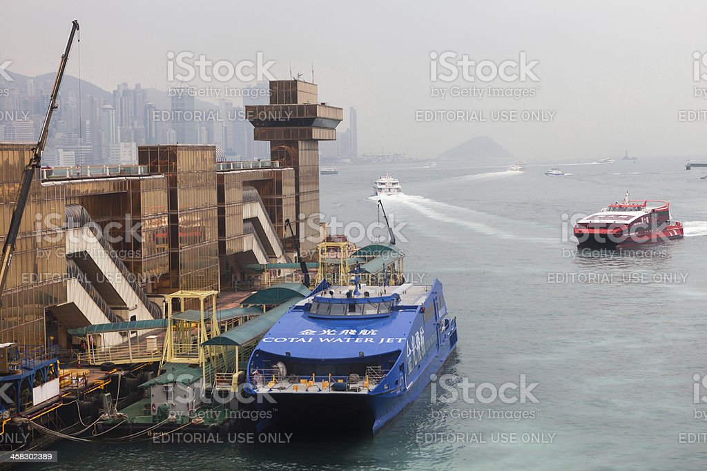 Passenger ferry arrives to Hong Kong Harbor from China stock photo