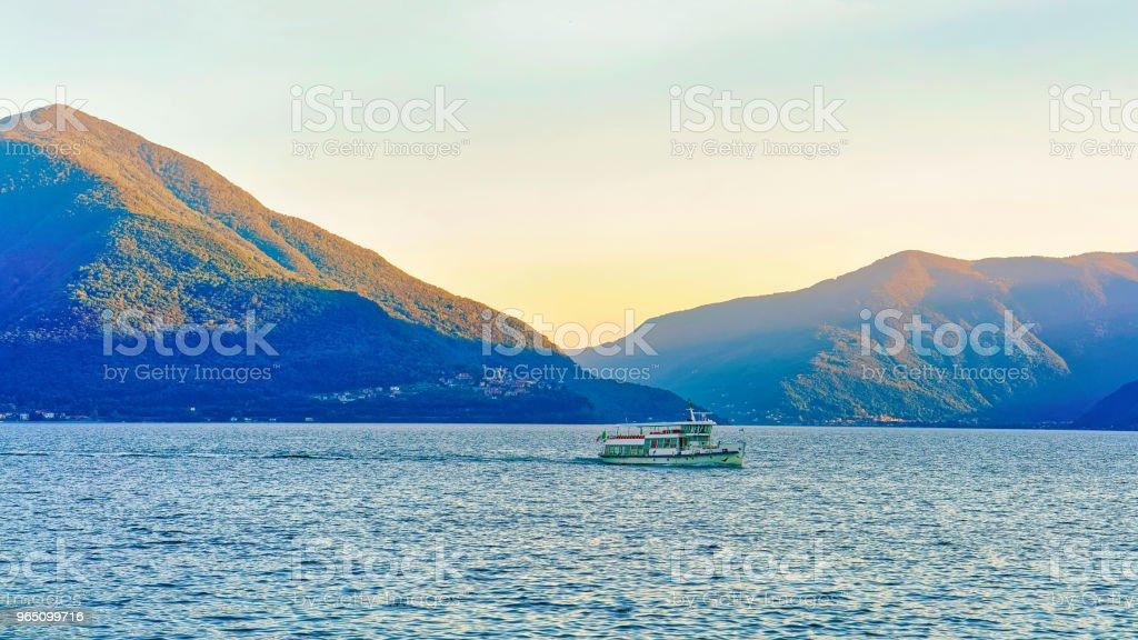 Passenger ferry at pier in Ascona Swiss CH zbiór zdjęć royalty-free