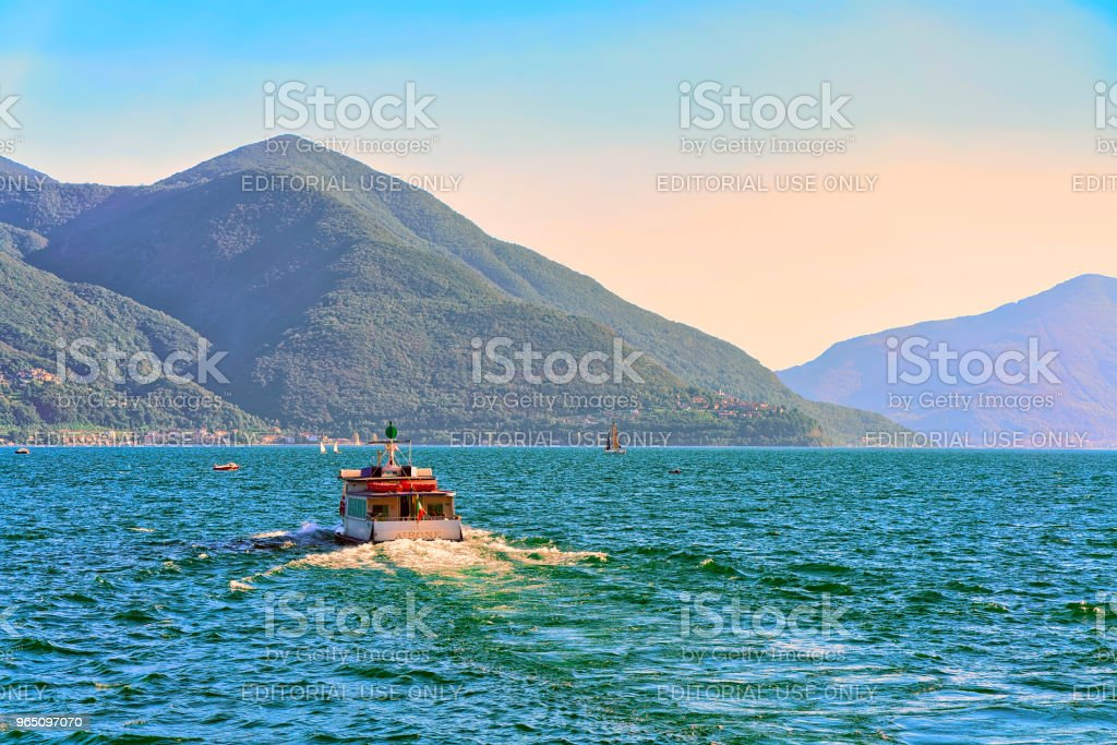Passenger ferry in Ascona in Ticino in Switzerland CH royalty-free stock photo