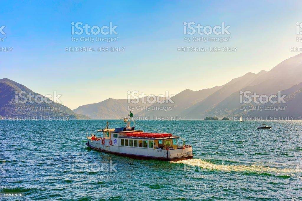 Passenger ferry in Ascona Ticino in Switzerland CH zbiór zdjęć royalty-free