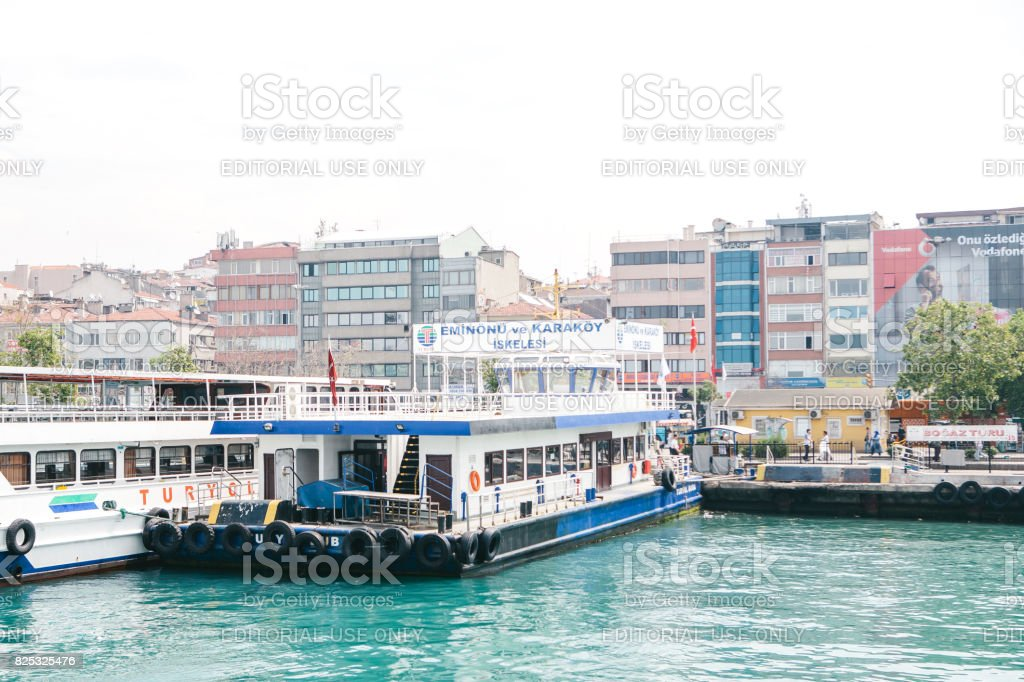 Passenger ferry in the port in Stabul, Turkey. Transportation of passengers by sea. stock photo