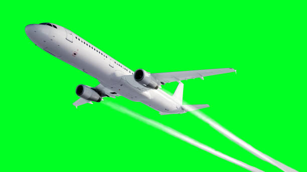 Passenger flying Plane . Isolate green screen. . A condensation trail of an airplane. 3d rendering. stock photo