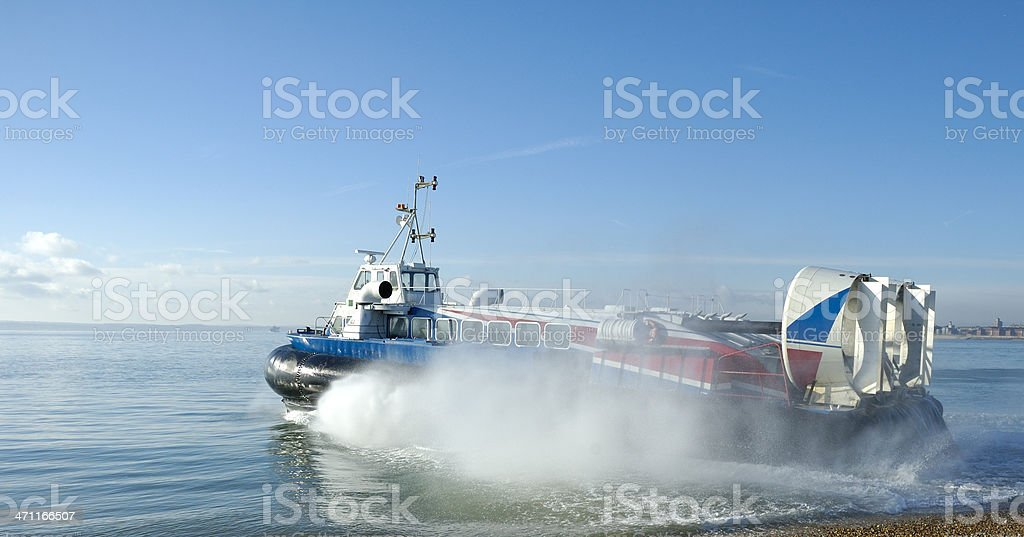 Passenger Hovercraft Takes to Sea stock photo