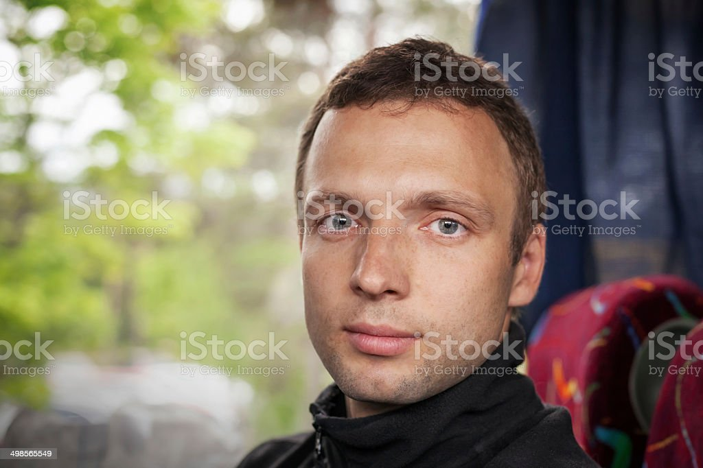 Passenger in the Bus, Portrait of Young Caucasian man royalty-free stock photo