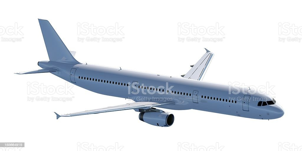Passenger Jet shadow side Isolated on white royalty-free stock photo