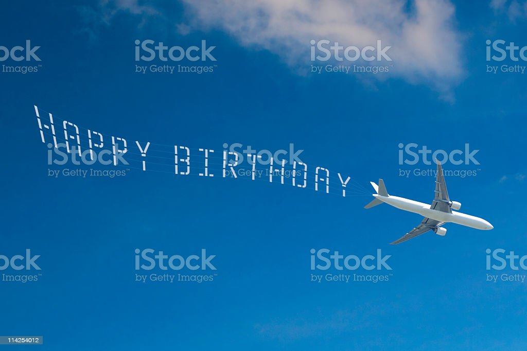 Passenger Jet Skywriting 'HAPPY BIRTHDAY' stock photo