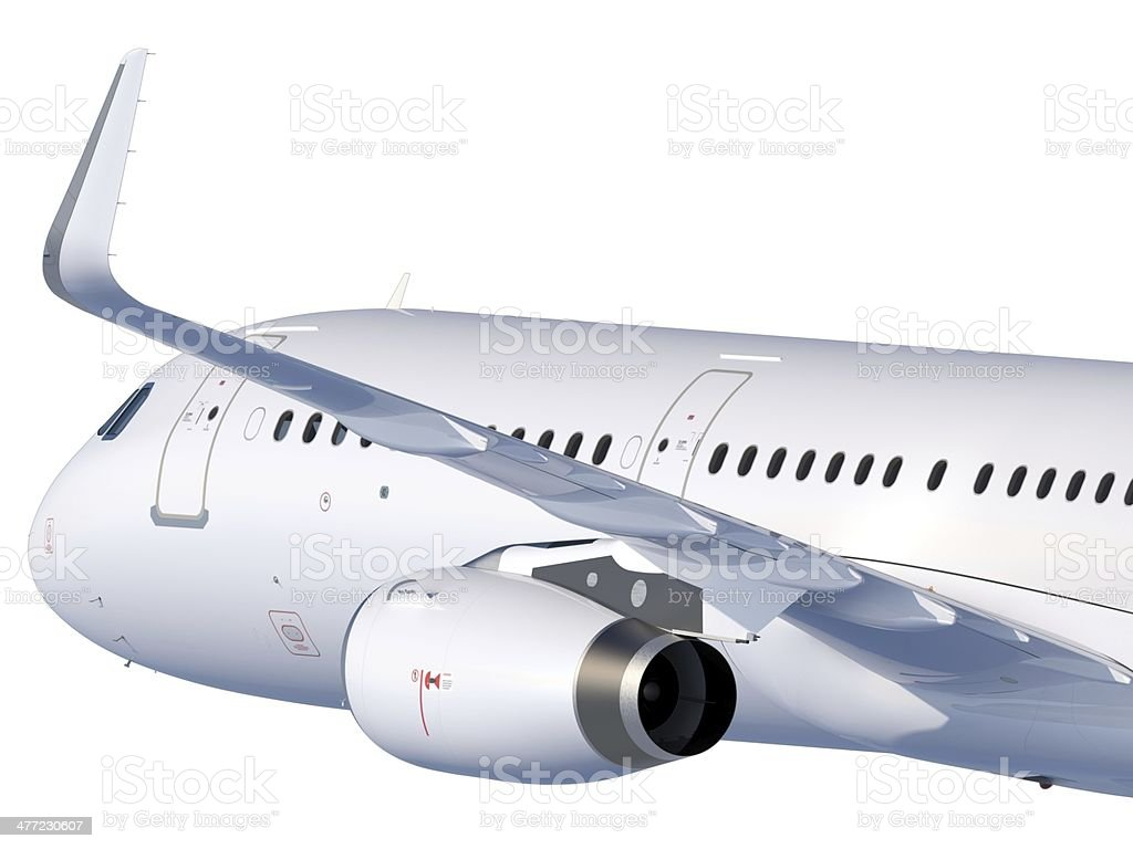 Passenger Jet with winglets in flight from aft-left royalty-free stock photo