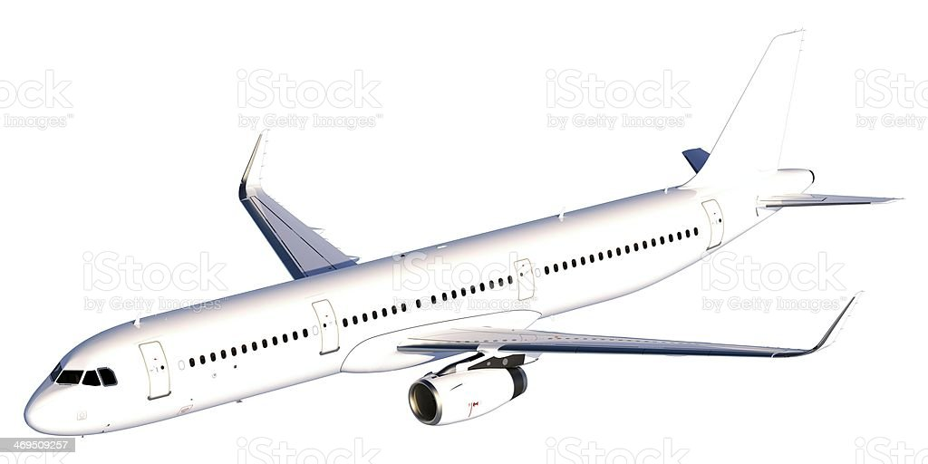 Passenger Jet with winglets Isolated on white stock photo