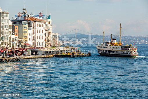 Istanbul, Turkey - November 30, 2015: Passenger motor ship docking at port at Karakoy in Istanbul.