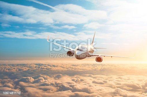 Passenger plane, business trip, travel concept. Flying evening sunset