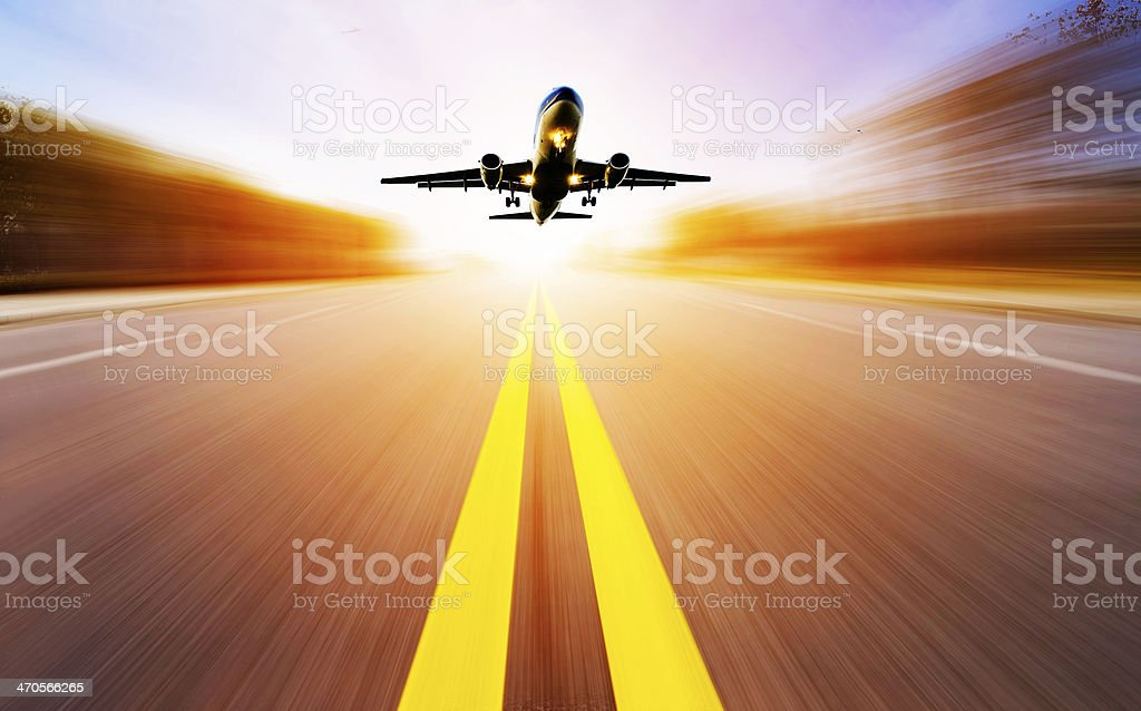 passenger plane fly up stock photo