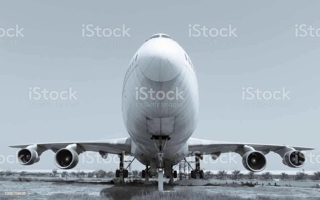 Passenger plane old stock photo