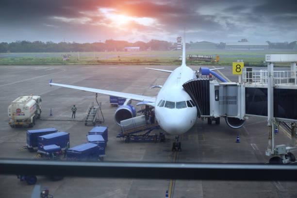 Passenger plane standing at Dabolim Airport, Goa, India stock photo